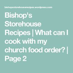Bishops Commodity Order Forms on