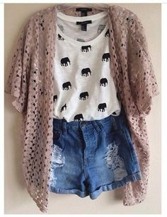 Loose top tucked into high waist shorts with a slouchy cardigan. LOVE
