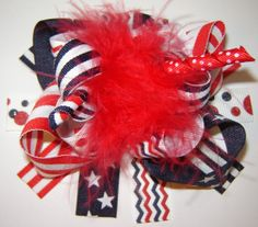 Girls Toddlers AllAmerican Patriotic Over The Top Red by bowtowne, $12.95
