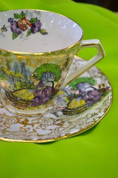 "Teacup and Saucer - Lord Nelsonware - England - ""Pompadour"""