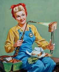 blow torch grilled cheese industrial women workers 50s