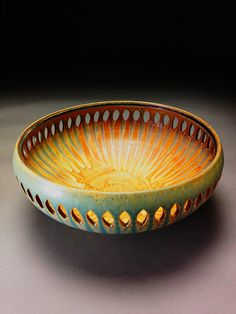 Bowl-Cut yellow ash glaze #bctya David Voll Pottery