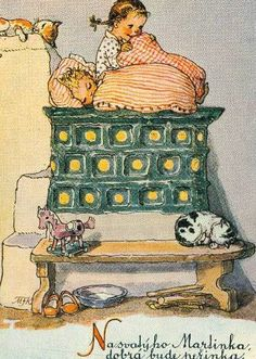 Bear and the nightingale told of people sleeping in top of the stove. Vintage Images, Vintage Art, People Sleeping, Forest Fairy, Children Images, Vintage Easter, Dollhouse Miniatures, Fairy Tales, Art Photography