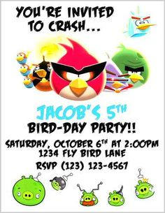 Angry Bird Space Invite