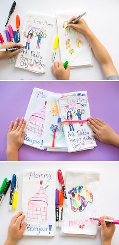 DIY Kids' Art Tea Towels. Cute handmade Mother's Day gifts kids can make. These would also make great Teacher Appreciation gifts!