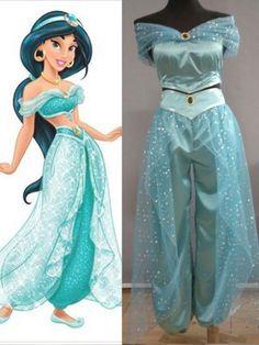 Adulto Aladdin Lámpara Jasmine Princesa Cosplay Halloween Disfraz Vestido De Fiesta Pantalones