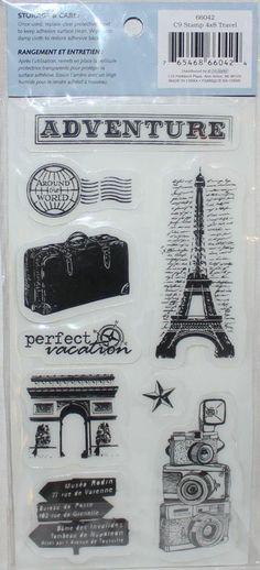 TRAVEL ~ PARIS Rubber Stamp Set by CLOUD 9 NEW! Scrapbook Card Craft Phrase. Thanks Mom!