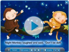 'Night Monkey, Day Monkey' digital book by Julia Donaldson, illustrated by Lucy… Dark Nursery, Maths Day, Book Area, Story Sack, Nocturnal Animals, Rainforests, Author Studies, Slumber Parties, Day For Night