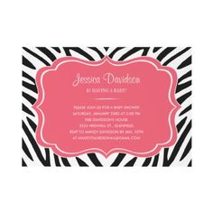 Hot Pink and Zebra Baby Shower Invitations by UniqueInvites