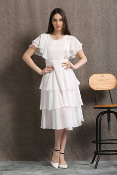 A white chiffon dress will be good for a bridesmaid dress, party dress, beach dress. You'll be picture beautiful in this gorgeously floaty and feminine white Ruffle Dress, Chiffon Dress, Frilly Skirt, White Dress Summer, Summer Dresses, Maxi Dresses, Skirt Midi, Frock For Women, Prom Party Dresses