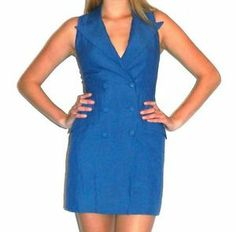 Vintage Nicole Miller blue linen sleeveless button up dress size: 2 small