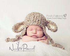 Crochet PATTERN - Little Lamb Earflap Hat Crochet Pattern - Instant Download PDF 127 - Newborn to 12 Months - Photography Prop Pattern 3.99