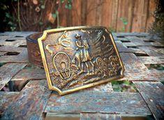 Western Belt Buckle for Men, Brass Belt Buckle Vintage, Western Gift for Men