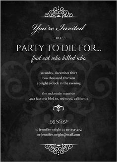 Murder Mystery Black Dinner Party Invitation