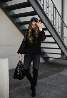 Over the knee boots and black blouse #boots #fashionista