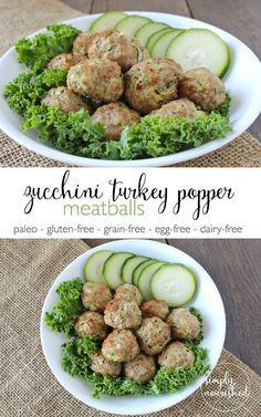 Zucchini Turkey Meatballs -- a freezer-friendly recipe and an easy way to sneak in veggies. http://www.simplynourishedmealplans.com/zucchini-turkey-meatballs-recipes/