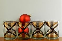 Vintage Georges Briard Cocktail Glasses Lowball by ModRendition