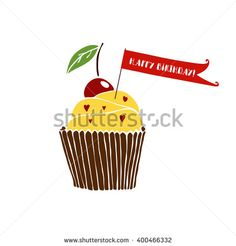 Happy birthday greeting card with cupcake on white background. - stock vector