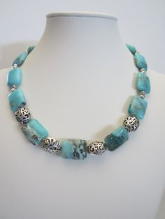 Amazonite Necklace with cut out antique Pewter beads by yasmi65, $32.00