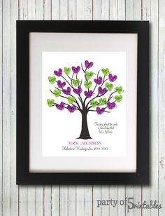 Teachers Gift Fingerprint Tree Teachers by PartyOf5Printables