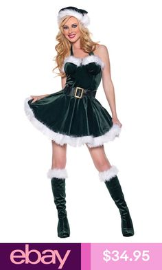 8020a4183f5 Stocking Stuffer Costume Adult Green Sexy Santa Outfit in Sexy Santa Outfits   Plush trimmed bustier mini dress with halter top. Green Santa s helper  outfit ...