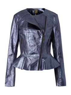 Biba Metallic leather jacket Blue - House of Fraser
