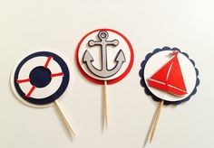 Ensemble de 15 nautiques Cupcake Toppers  par Nostresspartyforless