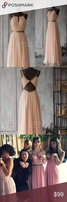 Dusty Rose Bridesmaid Dress | Floor Length Handcrafted by talented Etsy storekeepers RenzRags! Somewhere between a dusty rose and blush pink, this romantic Khaleesi maxi dress with golden accents will make you feel like you are winning at the Game of Thrones (The actual dress is in the second photos, and if you're looking for more exact coloration, it's color YW#132 on the RenzRags store site - they've also got other styles and colors if you're looking for more dresses!). Could work for prom…