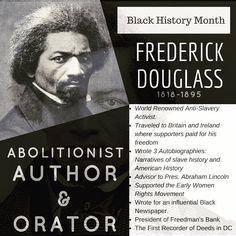 Frederick Douglass was born into slavery and escaped when he was 20. Married a free woman from Baltimore and became a preacher to set up his life as an activist and the voice of antislavery. He has written many speeches and books and was criticized heavily that a slave could produce such work his books went on to be reprinted and sold over 11000 copies in his lifetime. He worked with Presidents public figures and was even president over Freedmans Bank which was the bank to help newly freed…