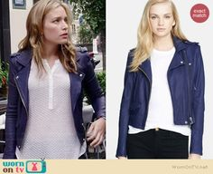 Annie's blue leather jacket on Covert Affairs.  Outfit Details: http://wornontv.net/35321/ #CovertAffairs