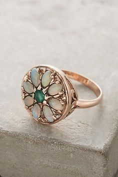 Emerald and Opal Round Mandala Ring in 14k Rose Gold - anthropologie.com #VintageGoldJewellery