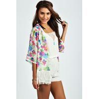 boohoo Stella Floral Print Tassel Kimono – multi - Budget deals UK