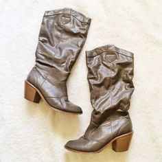 Taupe/Gray Boots (PRICE FIRM) These boots have been worn many times, but still have life left in them. They look cute with a sweater and leggings! The flaws are shown above.  ✅BUNDLE DISCOUNTS! No trades/paypal/other apps. Shoes Heeled Boots