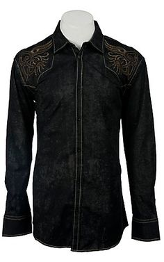 Roar® Men's Revelation Black Embroidered Long Sleeve Western Shirt   Cavender's Boot City