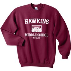 Hawkins Middle School AV Club Sweatshirt Stranger Things Shirt... (370 MXN) ❤ liked on Polyvore featuring tops, hoodies, hoodie shirt, hoodie pullover, heavy hoodies, heavy hooded sweatshirts and pullover hoodies