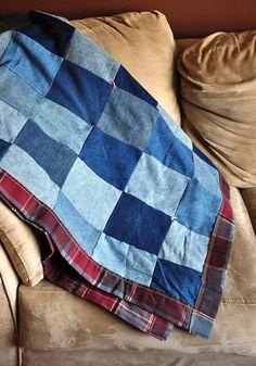 Denim Patchwork Quilt (Denim quilt idea)