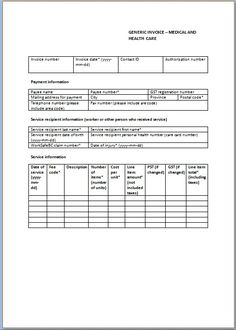 Medical Invoice  Medical Invoice Template    Medical