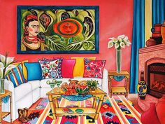 Mexican Art  Print Frida Kahlo Still Life by kMadisonMooreFineArt