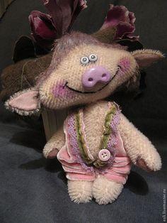 Купить Хрюн Дель-Дель - поросенок, свинка, мохер, бархат, кружево