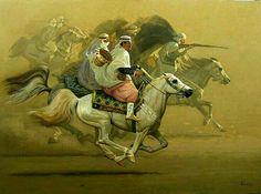 Peinture d'Algérie - Peintre Algérien, Hocine Ziani, ( Né En 1953 ), Huie sur toile, Titre: L'escorte.