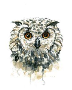 Owl Watercolor Print by WildCanaryStudio on Etsy♥♥