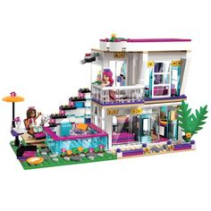 """For your consideration: Lego Friends """"Livi's Pop Star House"""". Choose from the real fabric skirts hanging in Livi's wardrobe. Lego parts are used, but in excellent condition. Features a modular house with swivel function for easy play inside. Lego Girls, Toys For Girls, Kids Toys, Cool Girl Toys, Model Building Kits, Building Blocks Toys, House Building, Lego Blocks, Legos"""