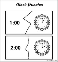 Free Printable - Simple Clock Puzzles - Telling Time Activity - to the hour Telling Time Activities, Math Activities, Math Measurement, Math School, Second Grade Math, Fun Math, Maths, Math Workshop, Homeschool Math