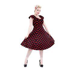 H&R Large Polka Dot Long Scoop Neck Dress
