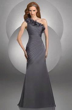 Size 14 Charcoal Bari Jay One Shoulder Flowers Bridesmaid Dress 417 image