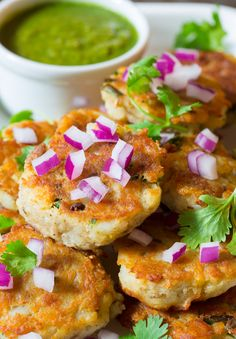Indian Potato Cakes (Aloo Tikki) with Peanut Cilantro Green Chutney