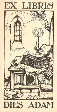 Ex libris designed by Anton Pieck. Ex Libris, Locuciones Latinas, Anton Pieck, Book Of Kells, Dutch Painters, Dutch Artists, Encaustic Painting, Wood Engraving, Woodblock Print