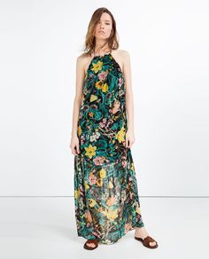 f90a9575f3b Image 1 of LONG PRINTED DRESS from Zara Fast Fashion