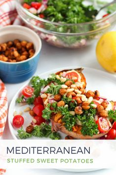 Mediterranean Stuffed Sweet Potatoes with Crispy Chickpeas, Hummus, and zesty tomato-parsley salad #mealprep #vegan #glutenfree