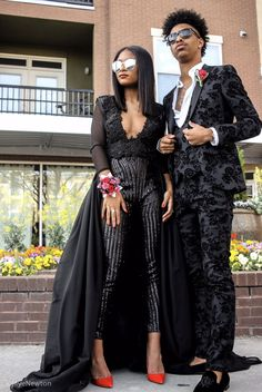 Other prom pictures couples baddie prom suits for men, black prom suits, bl Black Prom Suits, Prom Suits For Men, Prom Outfits For Guys, Wedding Outfits, Black Girl Prom Dresses, Prom Pictures Couples, Prom Couples, Teen Vogue, Prom Jumpsuit